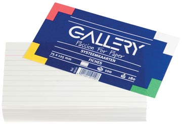 Gallery fiches blanches, ft 7,5 x 12,5 cm, ligné