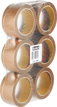 Scotch ruban adhésif d'emballage Classic, ft 50 mm x 66 m, brun, paquet de 6 rouleaux