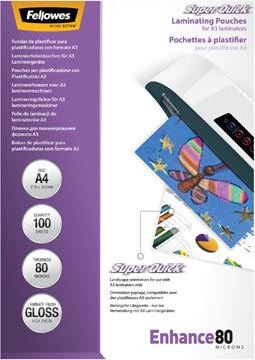 Fellowes Super Quick pochette à plastifier Enhance80, ft A4, 160 microns (2 x 80 microns), paquet de 100