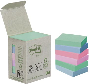 Post-it Notes récyclé, ft 38 x 51 mm, couleurs assorties, 100 feuilles, tour de 6 blocs