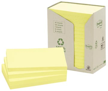 Post-it Notes récyclé, ft 76 x 127 mm, jaune, 100 feuilles, pacquet de16 blocs