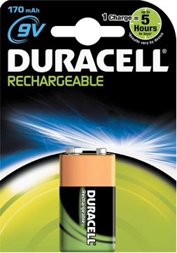 Duracell pile rechargeable 9V, sous blister