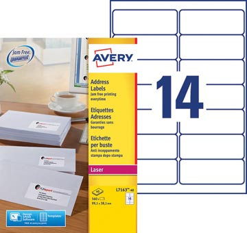 Avery L7163, Etiquettes adresses, Laser, Ultragrip, blanches, 40 pages, 14 per page, 99,1 x 38,1 mm